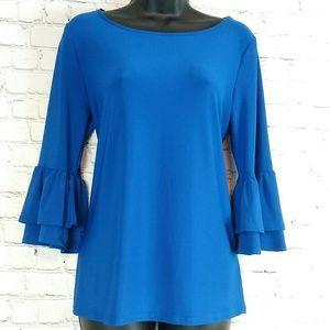 Faith and Joy Blue 3/4 Bell Sleeve Top Women Med